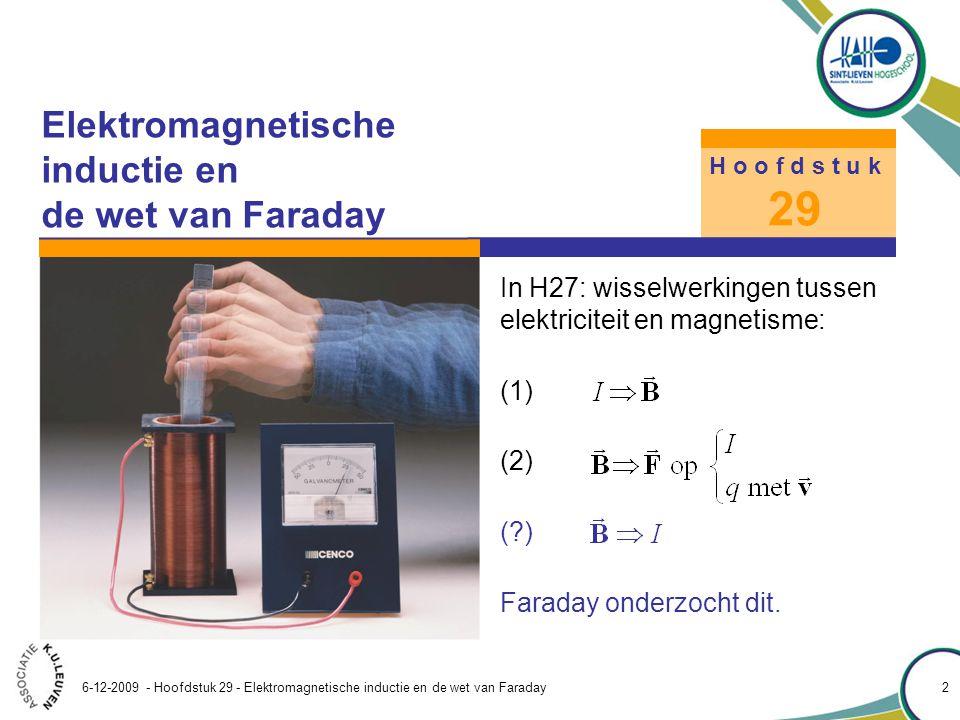 Hoofdstuk 29 – Elektromagnetische inductie en de wet van Faraday 6-12-2009 - Hoofdstuk 29 - Elektromagnetische inductie en de wet van Faraday 3 29.1 Geïnduceerde EMK De meetopstelling van Faraday bestond uit twee spoelen, gekoppeld door een ijzeren ring, een batterij, een schakelaar en een ampèremeter.