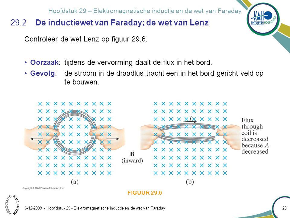 Hoofdstuk 29 – Elektromagnetische inductie en de wet van Faraday 6-12-2009 - Hoofdstuk 29 - Elektromagnetische inductie en de wet van Faraday 20 29.2