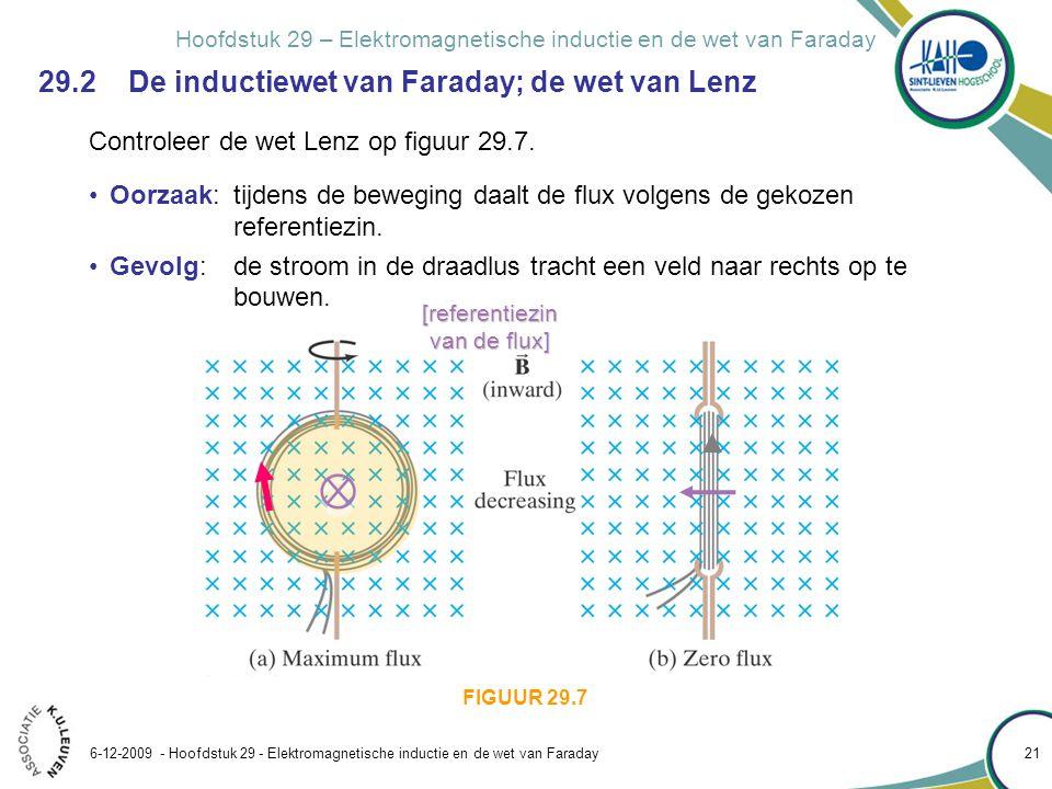 Hoofdstuk 29 – Elektromagnetische inductie en de wet van Faraday 6-12-2009 - Hoofdstuk 29 - Elektromagnetische inductie en de wet van Faraday 21 29.2