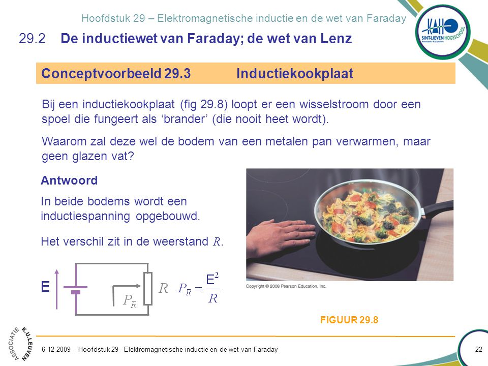 Hoofdstuk 29 – Elektromagnetische inductie en de wet van Faraday 29.2 De inductiewet van Faraday; de wet van Lenz Conceptvoorbeeld 29.3Inductiekookpla