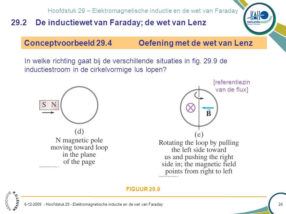 Hoofdstuk 29 – Elektromagnetische inductie en de wet van Faraday 29.2 De inductiewet van Faraday; de wet van Lenz Conceptvoorbeeld 29.4Oefening met de
