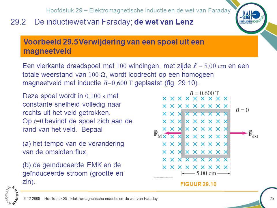 Hoofdstuk 29 – Elektromagnetische inductie en de wet van Faraday 29.2 De inductiewet van Faraday; de wet van Lenz Voorbeeld 29.5Verwijdering van een s