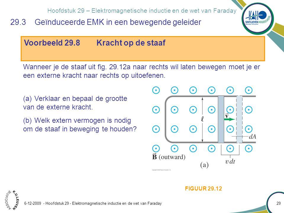 Hoofdstuk 29 – Elektromagnetische inductie en de wet van Faraday Voorbeeld 29.8Kracht op de staaf 6-12-2009 - Hoofdstuk 29 - Elektromagnetische induct