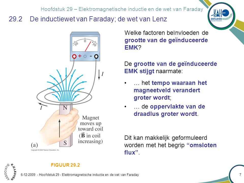 Hoofdstuk 29 – Elektromagnetische inductie en de wet van Faraday 6-12-2009 - Hoofdstuk 29 - Elektromagnetische inductie en de wet van Faraday 8 29.2 De inductiewet van Faraday; de wet van Lenz Het begrip omsloten magnetische flux (uitbreiding van het begrip elektrische flux H22): FIGUUR 29.3 Voor een homogeen veld en een vlakke lus : A : willekeurig oppervlak begrensd door de lus Voor een willekeurig veld en een willekeurige lus : [referentiezin van de flux] A : oppervlakte van het vlak begrensd door de lus
