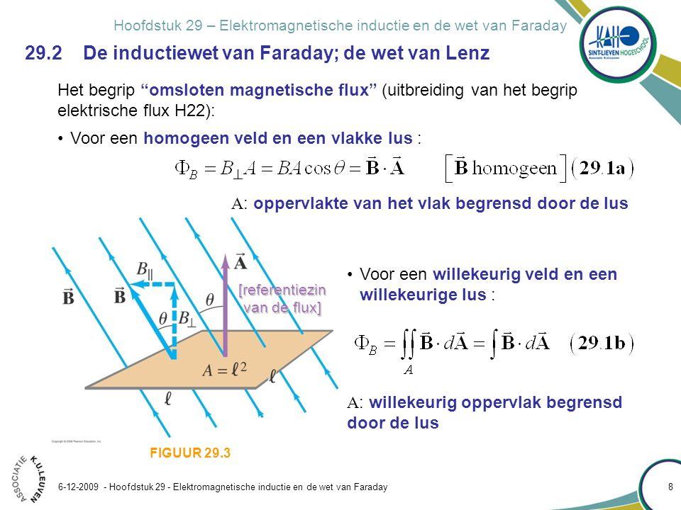 Hoofdstuk 29 – Elektromagnetische inductie en de wet van Faraday 6-12-2009 - Hoofdstuk 29 - Elektromagnetische inductie en de wet van Faraday 9 Het begrip omsloten magnetische flux (uitbreiding van het begrip elektrische flux H22): FIGUUR 29.3 Fysische betekenis.