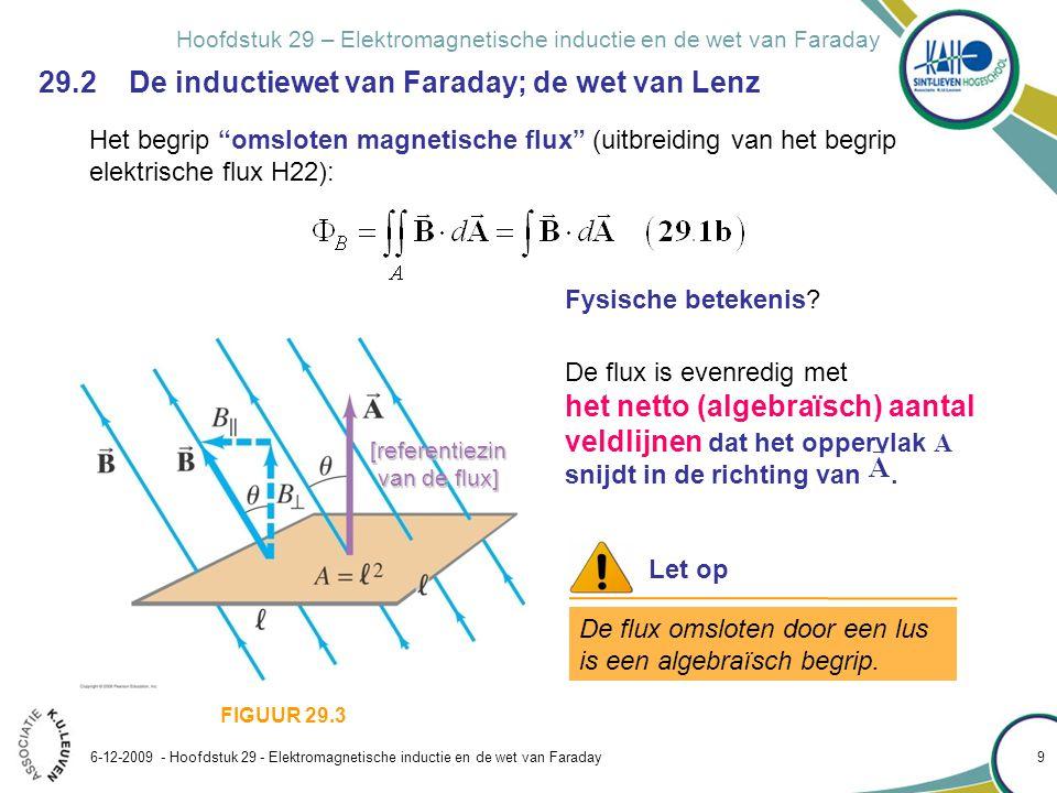 Hoofdstuk 29 – Elektromagnetische inductie en de wet van Faraday 6-12-2009 - Hoofdstuk 29 - Elektromagnetische inductie en de wet van Faraday 10 Het begrip omsloten magnetische flux (uitbreiding van het begrip elektrische flux H22): FIGUUR 29.4 [referentiezin van de flux] 29.2 De inductiewet van Faraday; de wet van Lenz