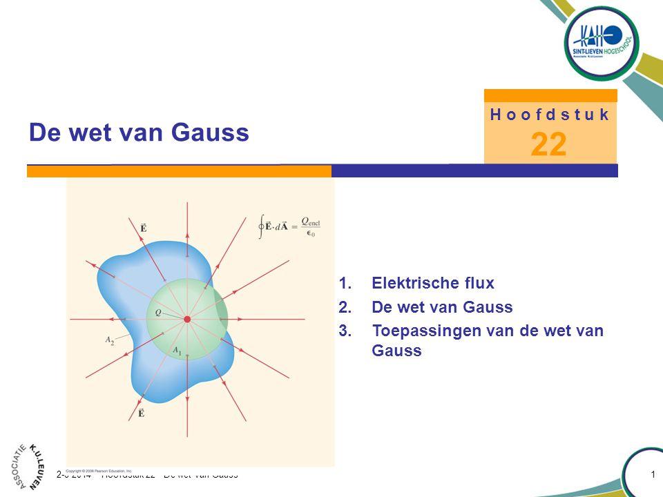 Hoofdstuk 22 – De wet van Gauss 2-8-2014 - Hoofdstuk 22 - De wet van Gauss 1 1.Elektrische flux 2.De wet van Gauss 3.Toepassingen van de wet van Gauss