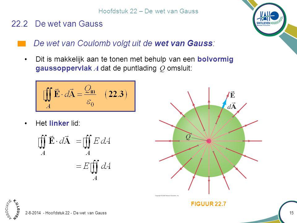 Hoofdstuk 22 – De wet van Gauss 2-8-2014 - Hoofdstuk 22 - De wet van Gauss 15 22.2De wet van Gauss De wet van Coulomb volgt uit de wet van Gauss: Dit
