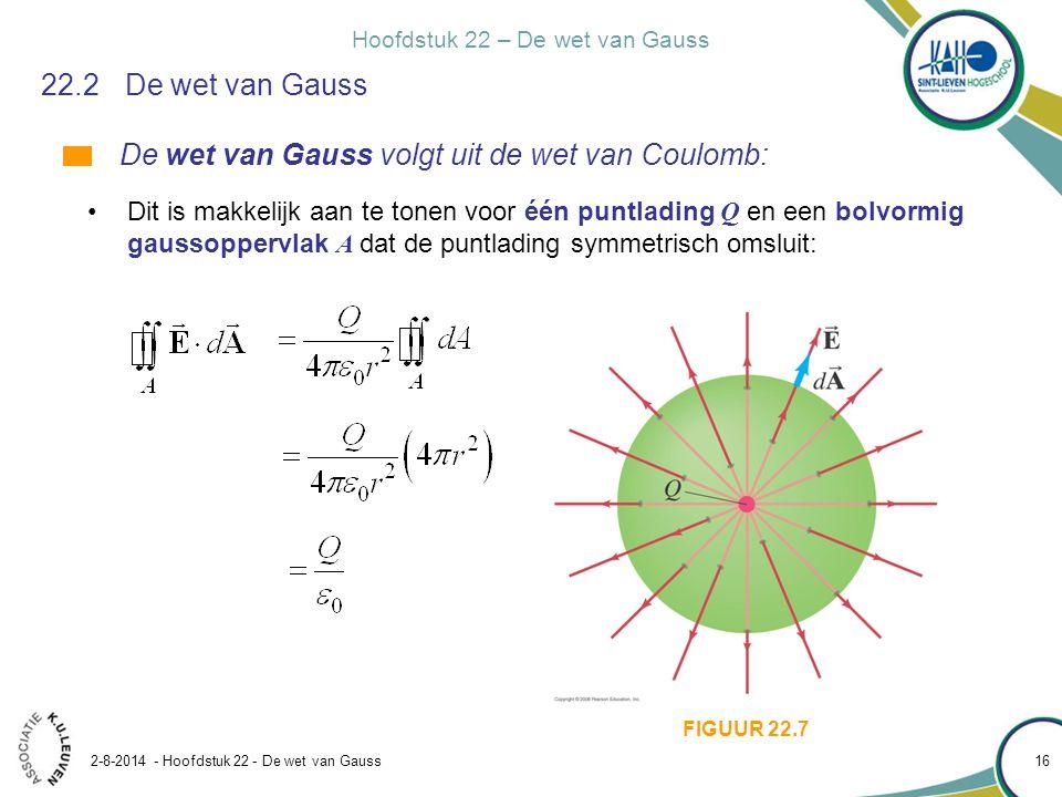 Hoofdstuk 22 – De wet van Gauss 2-8-2014 - Hoofdstuk 22 - De wet van Gauss 16 22.2De wet van Gauss De wet van Gauss volgt uit de wet van Coulomb: Dit