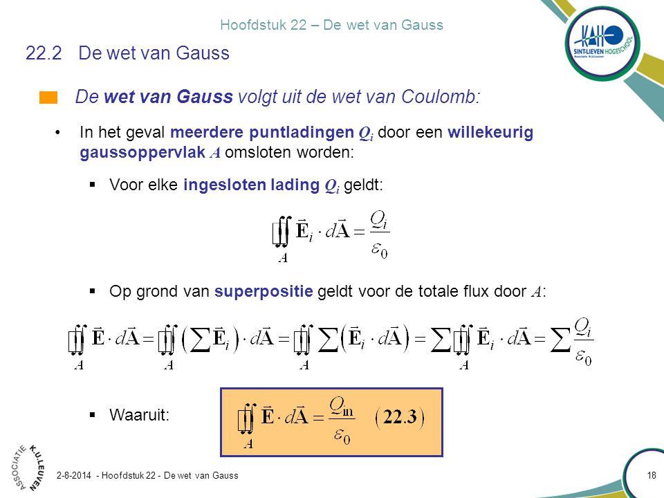 Hoofdstuk 22 – De wet van Gauss 2-8-2014 - Hoofdstuk 22 - De wet van Gauss 18 22.2De wet van Gauss De wet van Gauss volgt uit de wet van Coulomb: In h