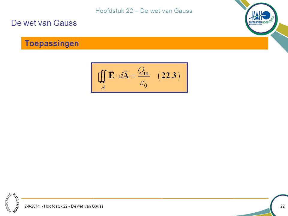 Hoofdstuk 22 – De wet van Gauss 2-8-2014 - Hoofdstuk 22 - De wet van Gauss 22 De wet van Gauss Toepassingen