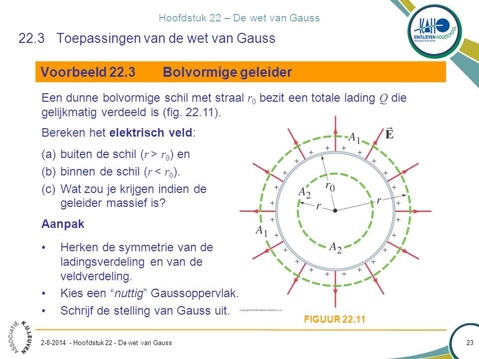 Hoofdstuk 22 – De wet van Gauss 2-8-2014 - Hoofdstuk 22 - De wet van Gauss 23 22.3Toepassingen van de wet van Gauss Voorbeeld 22.3Bolvormige geleider