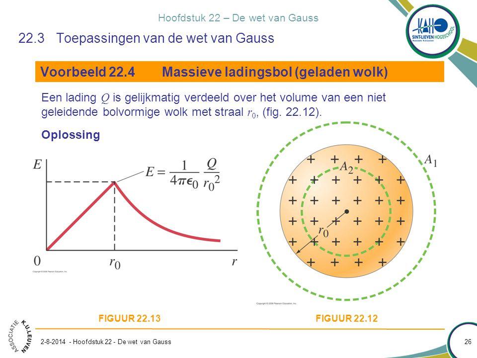 Hoofdstuk 22 – De wet van Gauss 2-8-2014 - Hoofdstuk 22 - De wet van Gauss 26 22.3Toepassingen van de wet van Gauss Voorbeeld 22.4Massieve ladingsbol