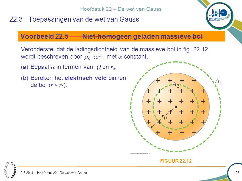 Hoofdstuk 22 – De wet van Gauss 2-8-2014 - Hoofdstuk 22 - De wet van Gauss 27 22.3Toepassingen van de wet van Gauss Voorbeeld 22.5Niet-homogeen gelade