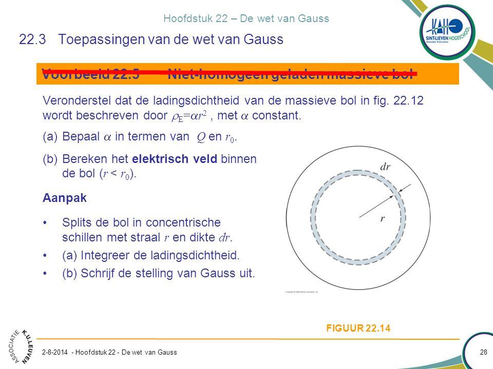 Hoofdstuk 22 – De wet van Gauss 2-8-2014 - Hoofdstuk 22 - De wet van Gauss 28 22.3Toepassingen van de wet van Gauss Voorbeeld 22.5Niet-homogeen gelade