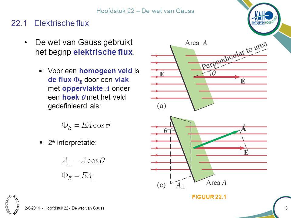 Hoofdstuk 22 – De wet van Gauss 2-8-2014 - Hoofdstuk 22 - De wet van Gauss 3 22.1Elektrische flux De wet van Gauss gebruikt het begrip elektrische flu