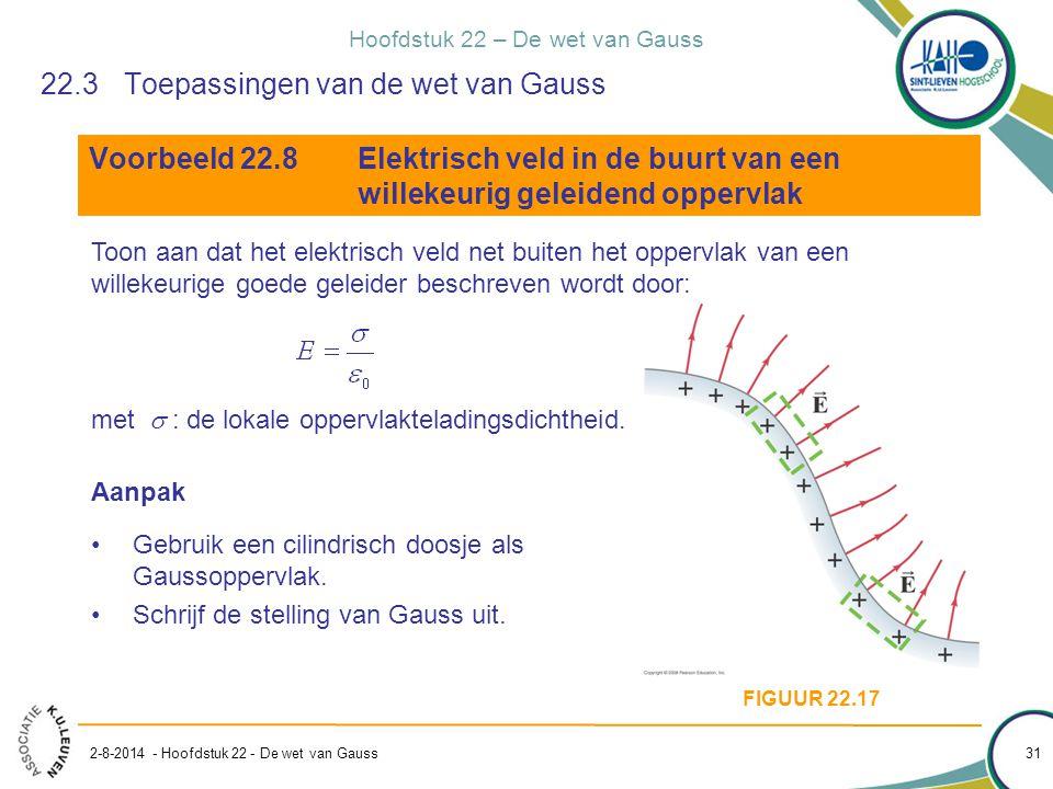 Hoofdstuk 22 – De wet van Gauss 2-8-2014 - Hoofdstuk 22 - De wet van Gauss 31 22.3Toepassingen van de wet van Gauss Voorbeeld 22.8Elektrisch veld in d