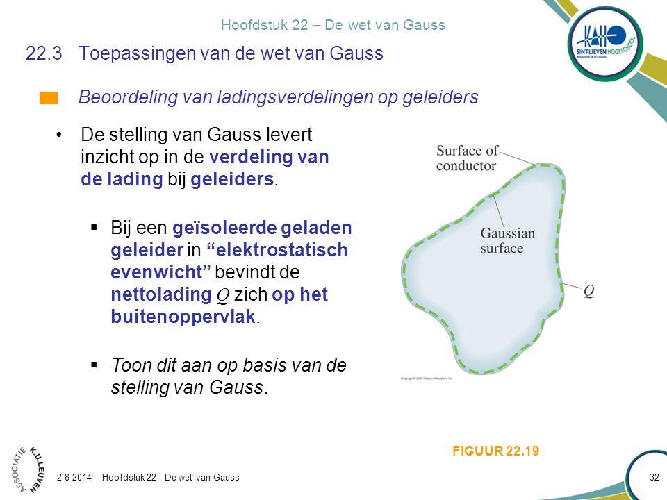 Hoofdstuk 22 – De wet van Gauss 2-8-2014 - Hoofdstuk 22 - De wet van Gauss 32 22.3Toepassingen van de wet van Gauss De stelling van Gauss levert inzic