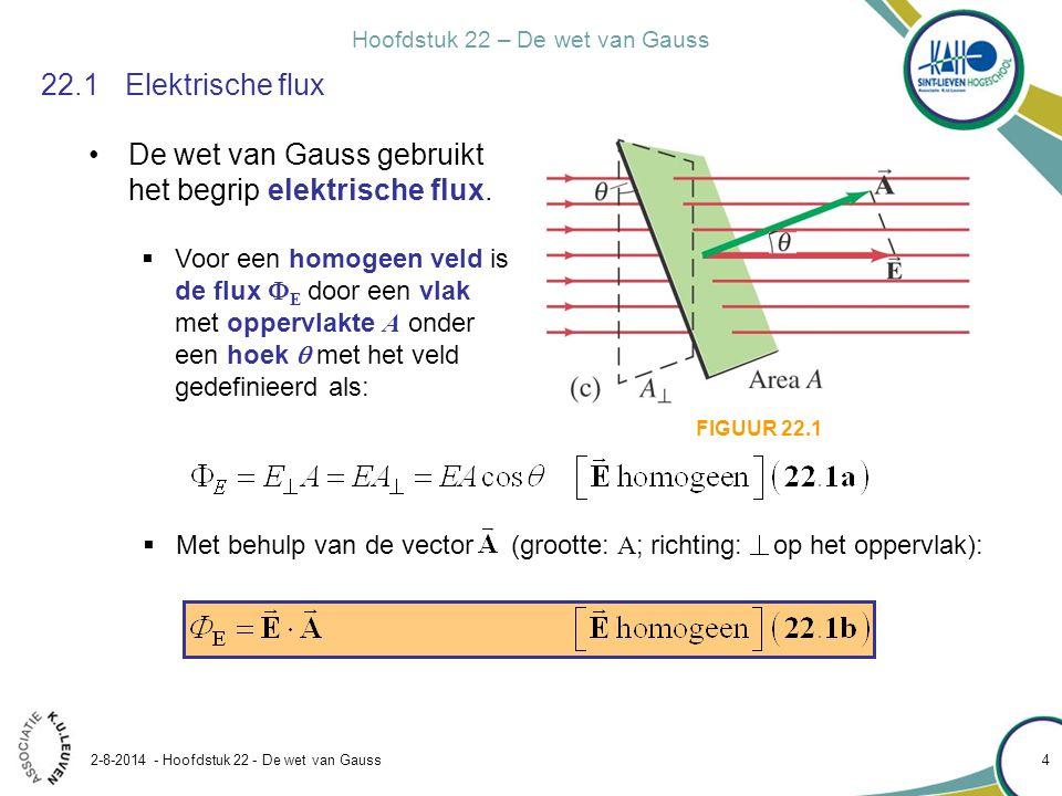 Hoofdstuk 22 – De wet van Gauss 2-8-2014 - Hoofdstuk 22 - De wet van Gauss 4 22.1Elektrische flux De wet van Gauss gebruikt het begrip elektrische flu