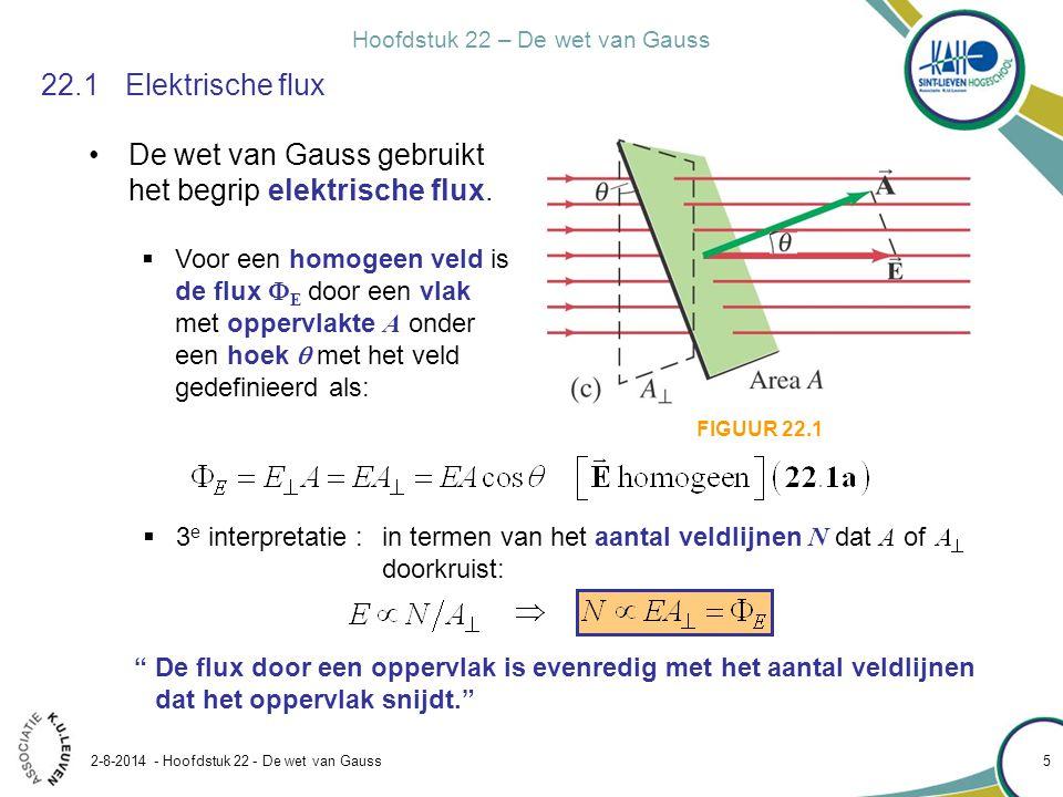 Hoofdstuk 22 – De wet van Gauss 2-8-2014 - Hoofdstuk 22 - De wet van Gauss 5 22.1Elektrische flux De wet van Gauss gebruikt het begrip elektrische flu