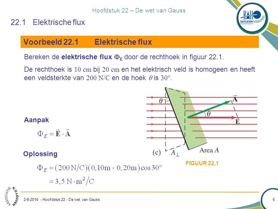 Hoofdstuk 22 – De wet van Gauss 2-8-2014 - Hoofdstuk 22 - De wet van Gauss 6 22.1Elektrische flux Voorbeeld 22.1Elektrische flux Bereken de elektrisch