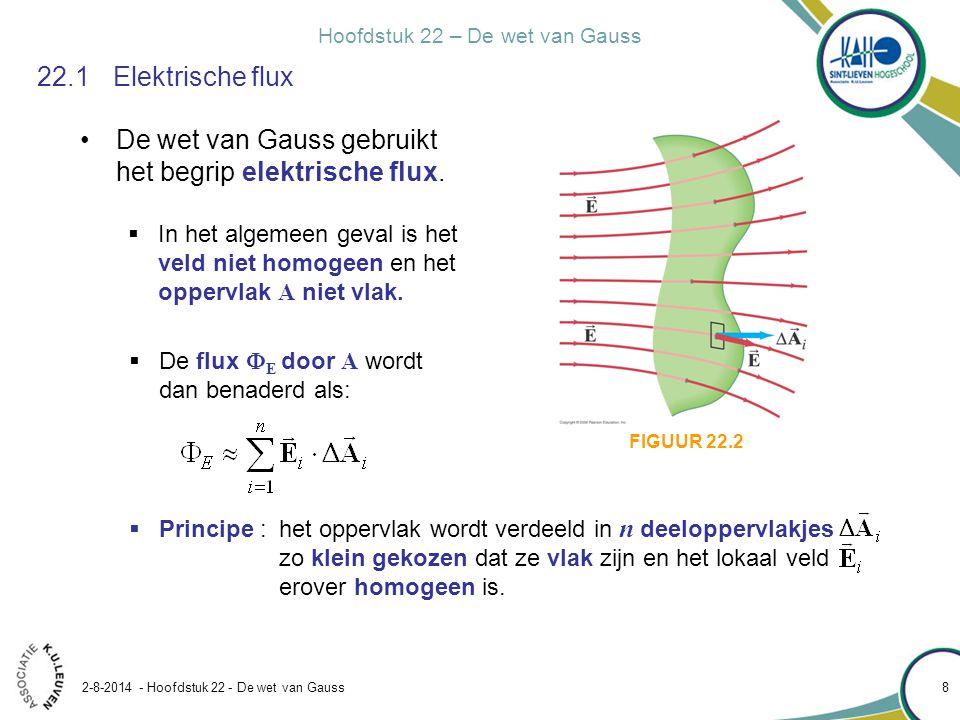 Hoofdstuk 22 – De wet van Gauss 2-8-2014 - Hoofdstuk 22 - De wet van Gauss 8 22.1Elektrische flux De wet van Gauss gebruikt het begrip elektrische flu