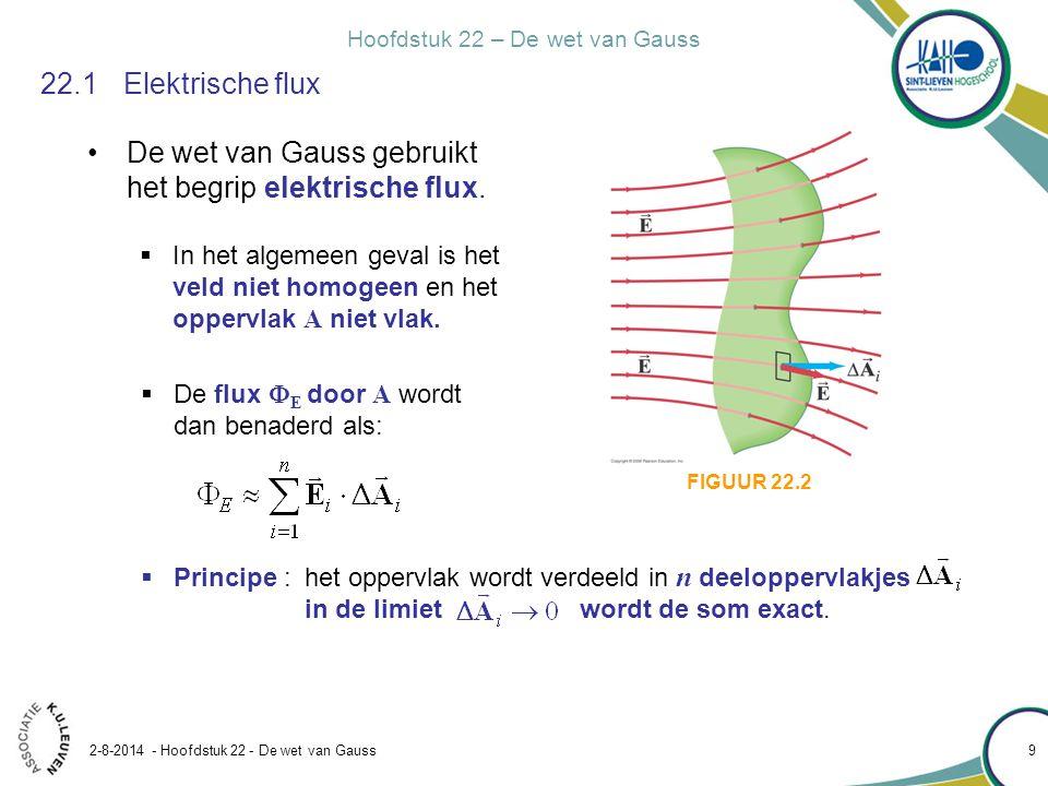 Hoofdstuk 22 – De wet van Gauss 2-8-2014 - Hoofdstuk 22 - De wet van Gauss 9 22.1Elektrische flux De wet van Gauss gebruikt het begrip elektrische flu