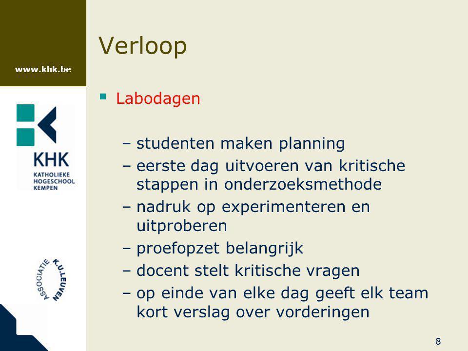 www.khk.be 9 Verloop  Labodagen