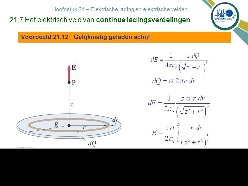 Hoofdstuk 21 – Elektrische lading en elektrische velden 2-8-2014 - Hoofdstuk 21 - Elektrische lading en elektrische velden 18 21.7 Het elektrisch veld van continue ladingsverdelingen Voorbeeld 21.12 Gelijkmatig geladen schijf Figuur 21.30