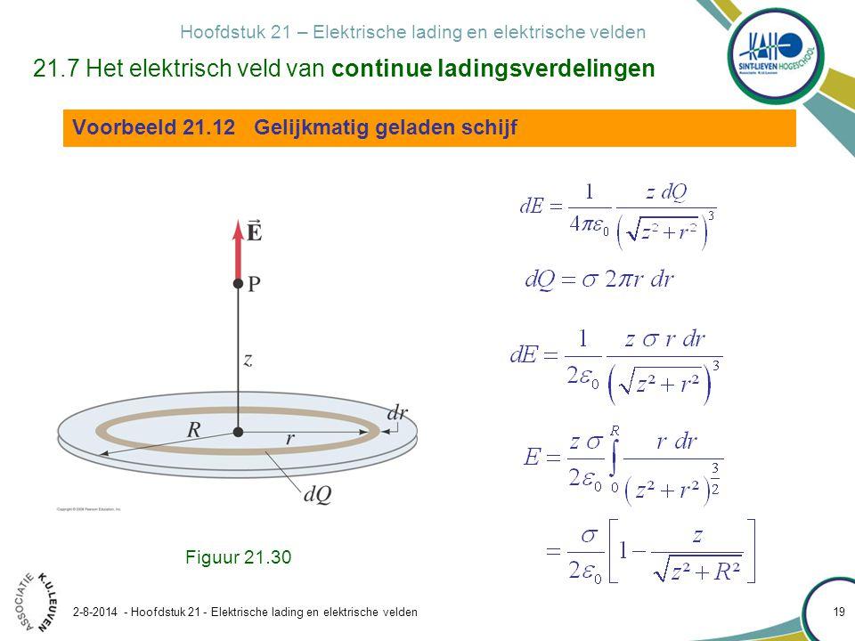 Hoofdstuk 21 – Elektrische lading en elektrische velden 2-8-2014 - Hoofdstuk 21 - Elektrische lading en elektrische velden 19 21.7 Het elektrisch veld van continue ladingsverdelingen Voorbeeld 21.12 Gelijkmatig geladen schijf Figuur 21.30