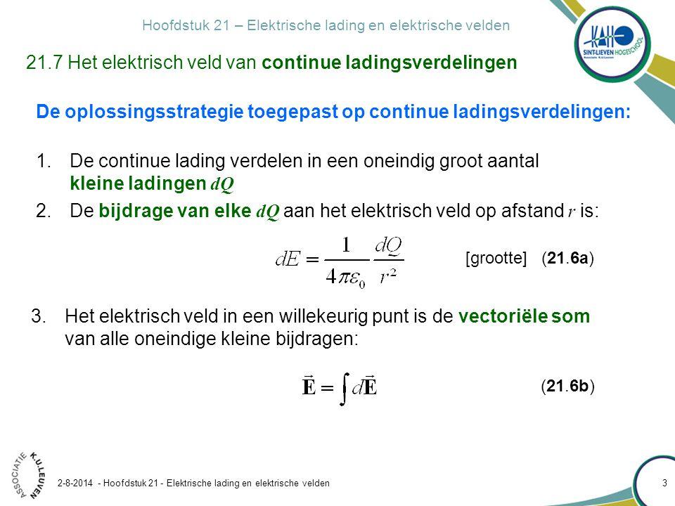 Hoofdstuk 21 – Elektrische lading en elektrische velden 2-8-2014 - Hoofdstuk 21 - Elektrische lading en elektrische velden 3 21.7 Het elektrisch veld van continue ladingsverdelingen De oplossingsstrategie toegepast op continue ladingsverdelingen: 1.De continue lading verdelen in een oneindig groot aantal kleine ladingen dQ 2.De bijdrage van elke dQ aan het elektrisch veld op afstand r is: [grootte] (21.6a) 3.Het elektrisch veld in een willekeurig punt is de vectoriële som van alle oneindige kleine bijdragen: (21.6b)
