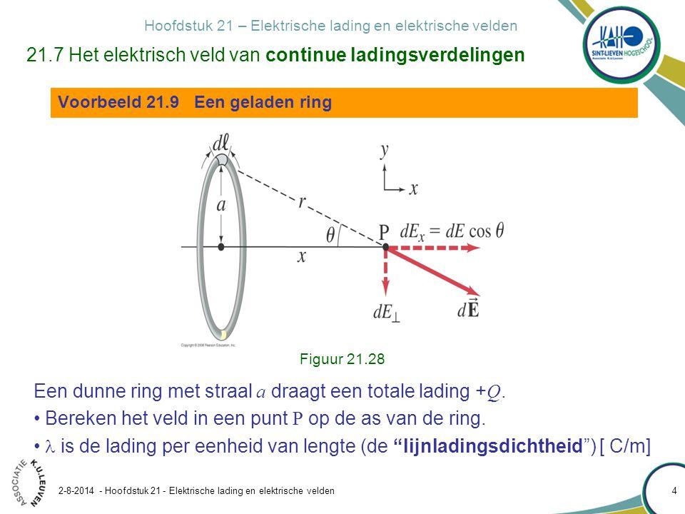 Hoofdstuk 21 – Elektrische lading en elektrische velden 2-8-2014 - Hoofdstuk 21 - Elektrische lading en elektrische velden 4 21.7 Het elektrisch veld van continue ladingsverdelingen Voorbeeld 21.9 Een geladen ring Een dunne ring met straal a draagt een totale lading + Q.