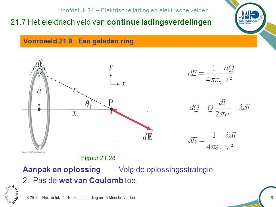 Hoofdstuk 21 – Elektrische lading en elektrische velden 2-8-2014 - Hoofdstuk 21 - Elektrische lading en elektrische velden 7 Aanpak en oplossing Volg de oplossingsstrategie.