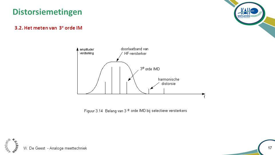 W. De Geest - Analoge meettechniek 17 Distorsiemetingen 3.2. Het meten van 3 e orde IM