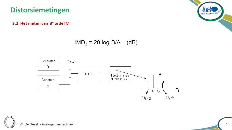W. De Geest - Analoge meettechniek 18 Distorsiemetingen 3.2.