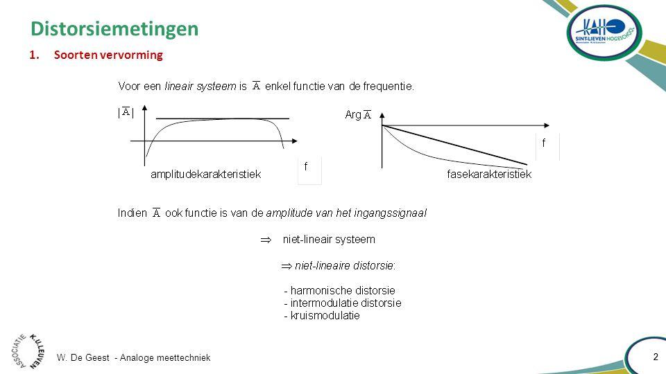 W. De Geest - Analoge meettechniek 2 2 Distorsiemetingen 1.Soorten vervorming