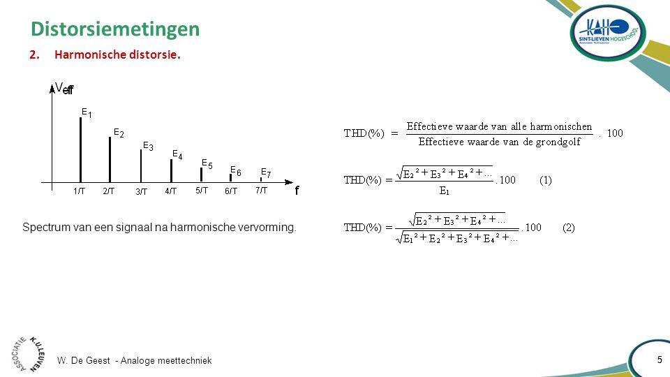 W. De Geest - Analoge meettechniek 5 5 Distorsiemetingen Spectrum van een signaal na harmonische vervorming. 2.Harmonische distorsie.