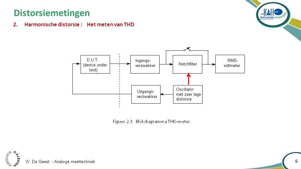W. De Geest - Analoge meettechniek 6 6 Distorsiemetingen 2.Harmonische distorsie : Het meten van THD