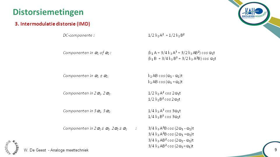 W. De Geest - Analoge meettechniek 10 Distorsiemetingen 3. Intermodulatie distorsie (IMD)