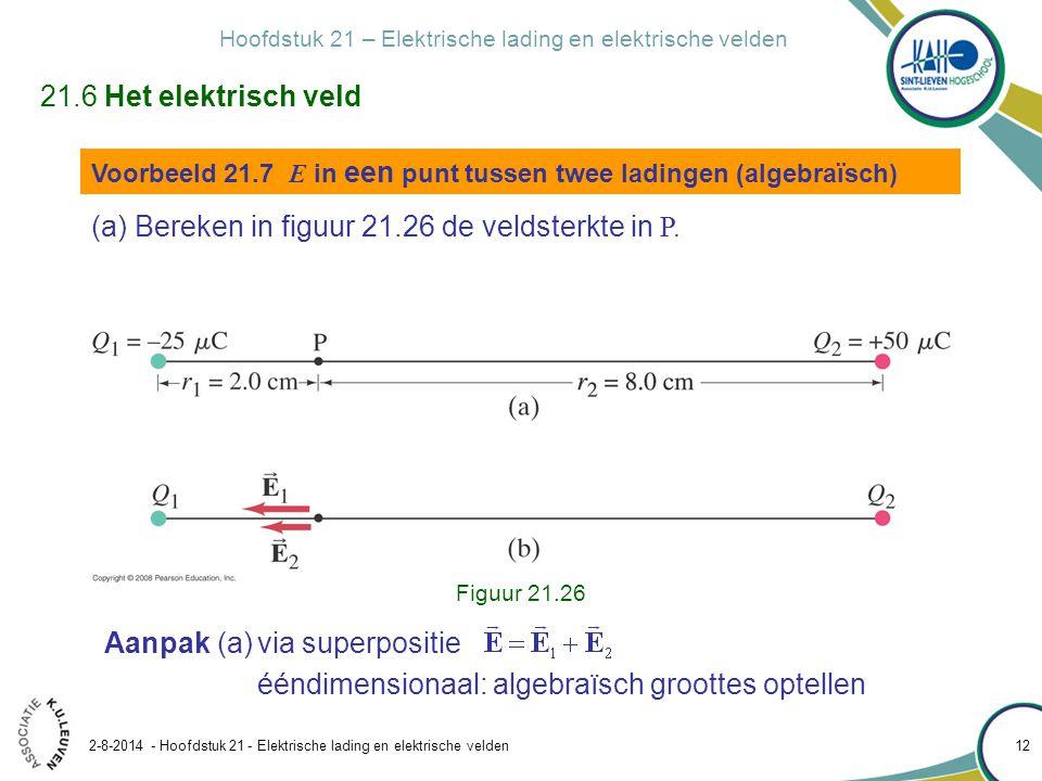 Hoofdstuk 21 – Elektrische lading en elektrische velden 2-8-2014 - Hoofdstuk 21 - Elektrische lading en elektrische velden 12 Voorbeeld 21.7 E in een