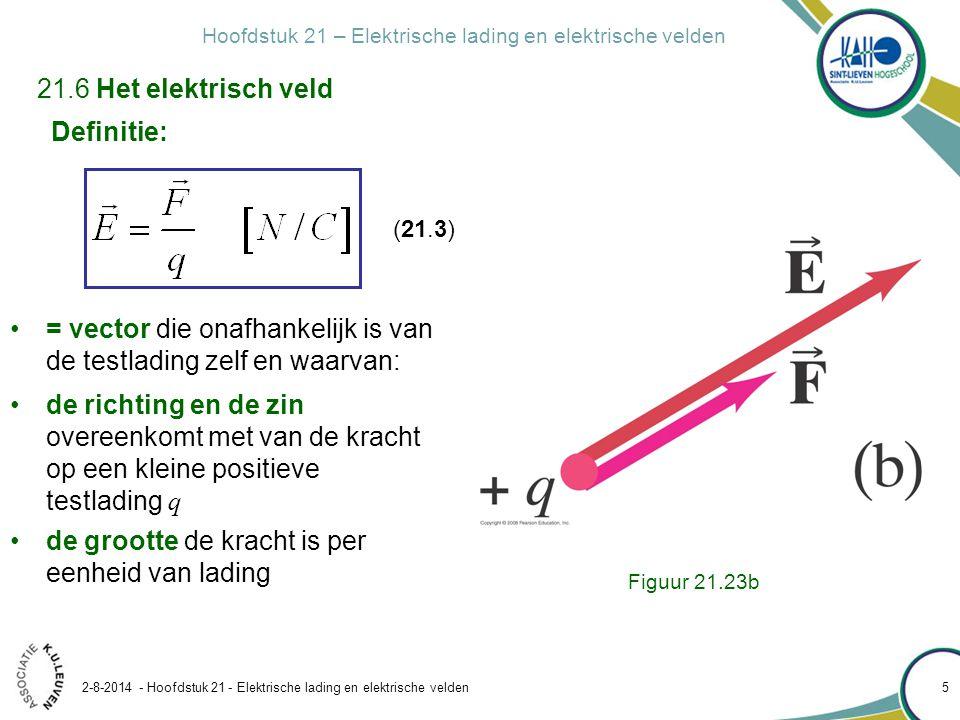 Hoofdstuk 21 – Elektrische lading en elektrische velden 2-8-2014 - Hoofdstuk 21 - Elektrische lading en elektrische velden 5 Definitie: = vector die o