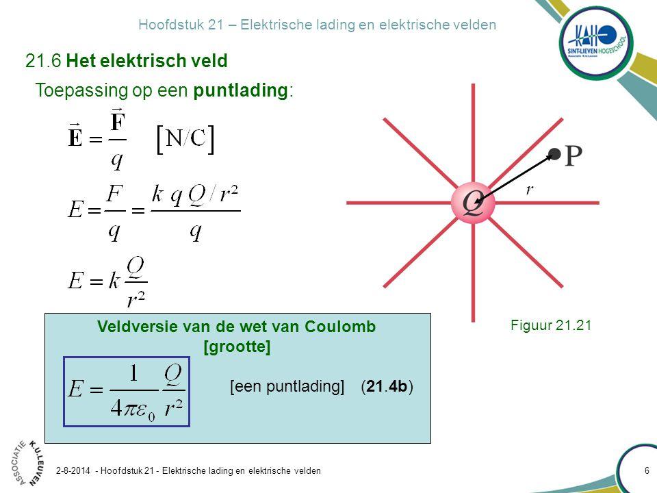 Hoofdstuk 21 – Elektrische lading en elektrische velden 2-8-2014 - Hoofdstuk 21 - Elektrische lading en elektrische velden 6 Toepassing op een puntlad