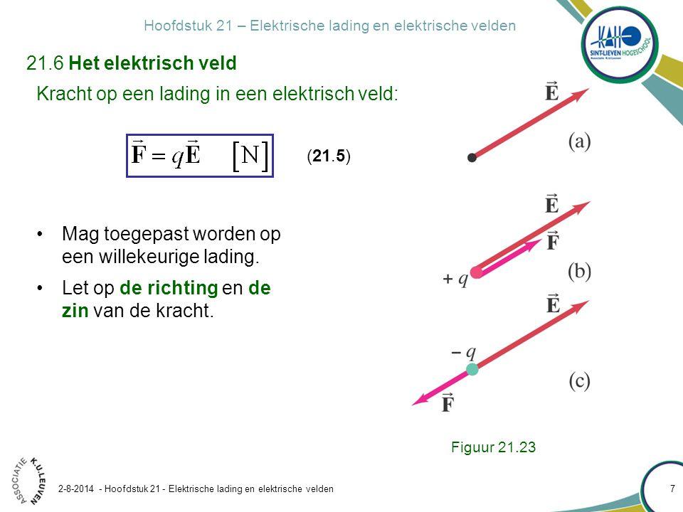 Hoofdstuk 21 – Elektrische lading en elektrische velden 2-8-2014 - Hoofdstuk 21 - Elektrische lading en elektrische velden 7 21.6 Het elektrisch veld