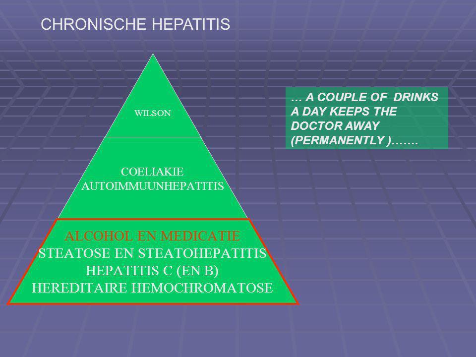 WILSON COELIAKIE AUTOIMMUUNHEPATITIS ALCOHOL EN MEDICATIE STEATOSE EN STEATOHEPATITIS HEPATITIS C (EN B) HEREDITAIRE HEMOCHROMATOSE CHRONISCHE HEPATITIS … A COUPLE OF DRINKS A DAY KEEPS THE DOCTOR AWAY (PERMANENTLY )…….