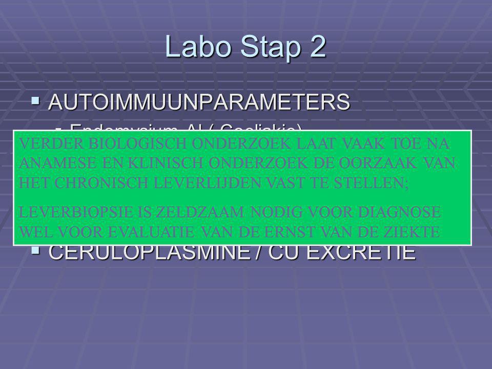 Labo Stap 2  AUTOIMMUUNPARAMETERS  Endomysium Al ( Coeliakie)  ANF, SMA, AMA, LKM Al, SLAg  ALFA 1 ANTITRYPSINE  CERULOPLASMINE / CU EXCRETIE VERDER BIOLOGISCH ONDERZOEK LAAT VAAK TOE NA ANAMESE EN KLINISCH ONDERZOEK DE OORZAAK VAN HET CHRONISCH LEVERLIJDEN VAST TE STELLEN; LEVERBIOPSIE IS ZELDZAAM NODIG VOOR DIAGNOSE WEL VOOR EVALUATIE VAN DE ERNST VAN DE ZIEKTE