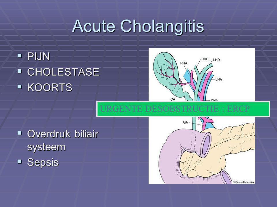 Acute Cholangitis  PIJN  CHOLESTASE  KOORTS  Overdruk biliair systeem  Sepsis URGENTE DESOBSTRUCTIE : ERCP