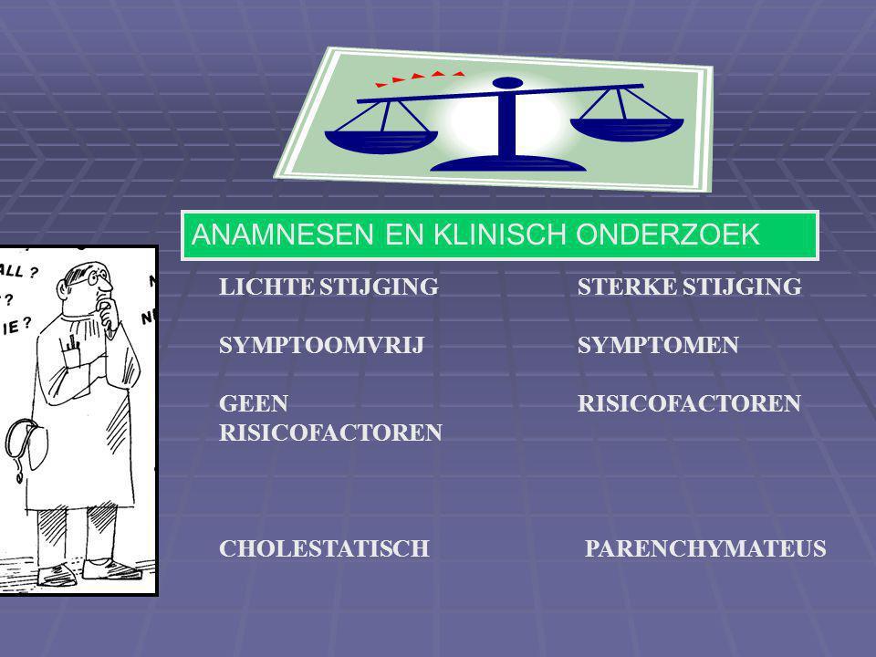 LICHTE STIJGING SYMPTOOMVRIJ GEEN RISICOFACTOREN STERKE STIJGING SYMPTOMEN RISICOFACTOREN CHOLESTATISCH PARENCHYMATEUS ANAMNESEN EN KLINISCH ONDERZOEK