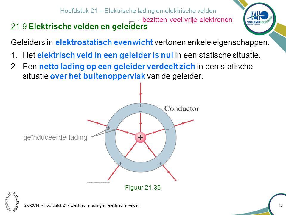 Hoofdstuk 21 – Elektrische lading en elektrische velden 2-8-2014 - Hoofdstuk 21 - Elektrische lading en elektrische velden 10 21.9 Elektrische velden