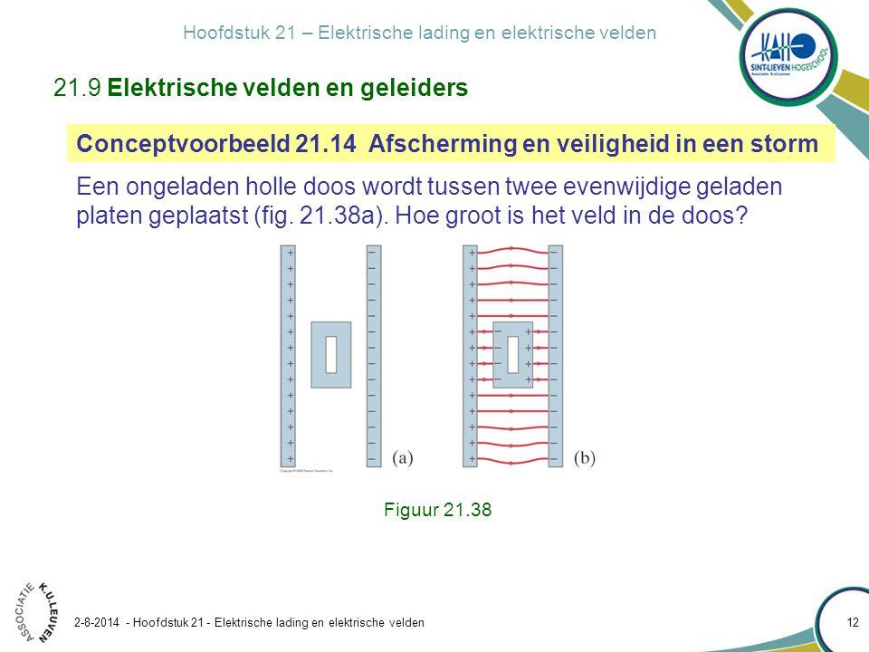Hoofdstuk 21 – Elektrische lading en elektrische velden 2-8-2014 - Hoofdstuk 21 - Elektrische lading en elektrische velden 12 Figuur 21.38 21.9 Elektr
