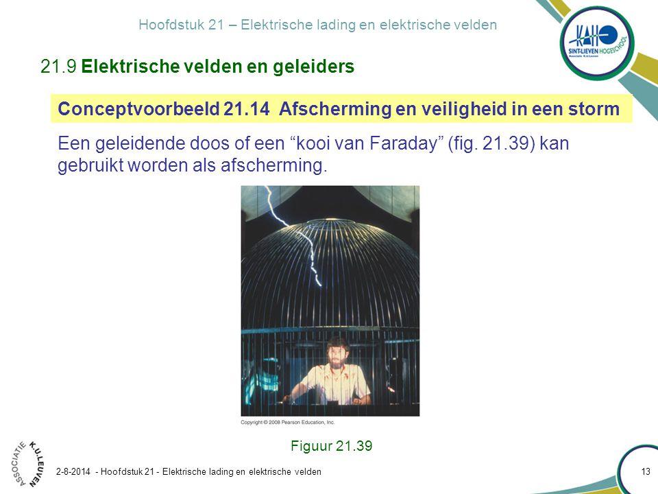 Hoofdstuk 21 – Elektrische lading en elektrische velden 2-8-2014 - Hoofdstuk 21 - Elektrische lading en elektrische velden 13 Figuur 21.39 21.9 Elektr
